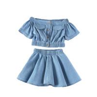 Одежда для девочек 2020 Новая мода Demim Детская одежда Установить с коротким рукавом рубашки юбка 2pcs лета малышей Детский костюм Костюмы