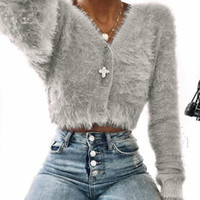 Mulheres Camisolas Moda V-neck manga comprida Furry Casual Sweater Cortar mulheres populares Tops Feminino Inverno Sweater Pullover M840 #