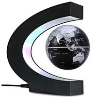 C-Form Magnetschwebebahn Schwimmweltkarte mit LED-Lichtdekoration für Home Office - Schwarz