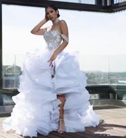 Органза каскадные оборками Side расколоть Line Свадебные платья 2020 с плеча шнурка аппликациями Плюс Размер Сексуальное платье Африканский Bridal