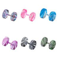 Moda Vücut Takı Vida Halter Kulak Çiviler Renkli Erkekler Kadınlar Için Titanyum Çelik Dambıl Saplama Küpe Piercing Takı
