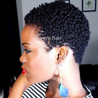 Pelucas de pelo humano cortas cortas de 4 pulgadas Color natural de 4 pulgadas Pelucas Afro de la Virgen Brasileño Cabello rizado Remy Peluca de pelo humano para mujeres negras
