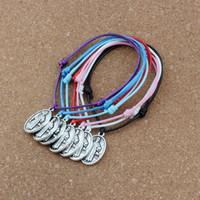 70PCS/lots Jesus Christ Religion Cross Charm Pendant Adjustable Korea Waxed Cotton Cord Bracelets 7color B-440