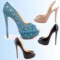 2019 Chaussures De Mariage De Semelle Rouge Classique Femmes Hommes Marque Rouge Bas Talons Hauts En Cuir Verni Plateforme Peep-Toes Sandales Designer Chaussures Habillées