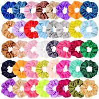 40 가지 색상 scrunchies 여성 새틴 헤어 밴드 동그라미 소녀 포니 테일 홀더 넥타이 헤어 링 스트레치 탄성 로프 액세서리 크리스마스 선물 C121008
