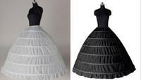 Blanco Negro Barato Borde de encaje 6 Aro Enagua Falda para vestido de novia Vestido de novia 110 cm Diámetro Ropa interior Accesorios de boda Crinolina