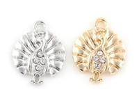 20pcs / lot 18x22mm (oro, plata del color) Encantos del pavo real animales cuelgan de bricolaje colgante ajuste Accesorio para flotar cuelgan Locket Jewelrys