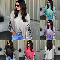 Blusa T-shirt Casual mulheres Impresso Lace T Shirt Neck Long Sleeve T-Shirt Print Loose Women inverno manga comprida Algodão Floral Top Blusa