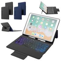 iPad 10.2 için 2019 7 Renk Arka Işık Kablosuz Bluetooth Klavye Kılıf Darbeye Akıllı Yapı-Kalem Tutucu Kapak çevirin Standı