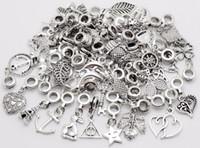 100pcs / lot Vintage Big Hole solta pérolas pingente Europeia caber encantos de Pandora pulseira fazer jóias DIY metal