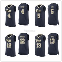 Pittsburgh Panthers Pitt College # 4 Ryan Luther Jerseys # 5 Marcus Carr # 12 Joe Mascaro # 13 Khameron Davis Mens costurado