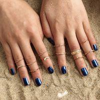 12 pçs / set Retro Bohemian Banda Anéis para As Mulheres Do Vintage Geométrica Banhado A Ouro Knuckle Anéis Set Moda Jóias Acessórios