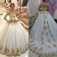 Vestido de baile de lantejoulas de ouro vestido de lantejoulas espartilho dubai árabe mangas compridas tribunal trem plus size vestido de noiva cstom made