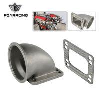 PQY - Bride d'adaptation au coude turbo coulé à 90 degrés de 3,05 Vband en acier inoxydable 304 pour turbocompresseur T3 T4