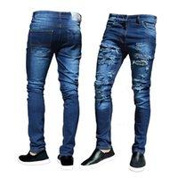 CANIS Trendy uomini di modo Jeans aderenti Biker Distrutto pantaloni sfilacciato Slim Fit Denim Ripped Nuovo Design morbido Pantaloni