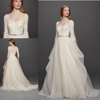 4c597aa269c Vintage Ivory Country Wedding Dresses Long Sleeves Covered Buttons Sweep  Train 2017 Oleg Cassini Plus Size Bridal Gowns