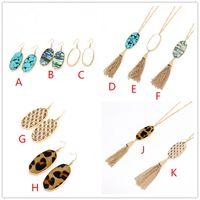 Мода Золотой цвет геометрии леопарда печати Druzy earringsTurquoise Shell кисточкой druzy ожерелье для женщин марка ювелирных изделий