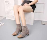Hot Sale-Nova Chegada das mulheres clássico botas curtas de salto alto tornozelo Botas Ladies Cavaleiro camurça botas de inverno de couro