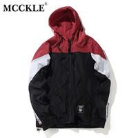 Erkek Ceketler McCKLE Bahar Renk Blok Patchwork Rüzgarlık Kapşonlu Erkek Hiphop Zip Yukarı 2021 Eşofman Ceket Moda Streetwear