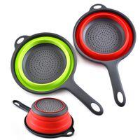Ahorro de espacio plegable de silicona de lavado coladores Colador de cocina plegables Pasta coladores, plegable Drain Cesta con manijas JK2001