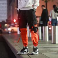 Pantalones cadera de la cadera de la vendimia del bloque del color del remiendo de la pana de carretera Harem Pant Streetwear Harajuku basculador SWEATPANT algodón Pantalones 2019
