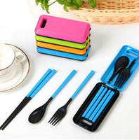 3шт 1set ABS Пластиковая посуда Портативный Дорожный набор складной Комбинация Палочки Вилка Ложка Путешествия Cutlery Set LJJK2150