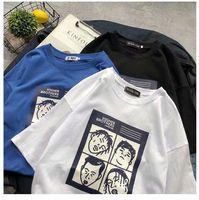 versão coreana da camisa coreana do casal estilo solto estudante maré Harajuku ulzzang WGTX120 T-shirt dos homens de manga curta