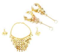 Tribal Belly Dance Smycken Set - Guld Halsband Örhängen Armband Presentidé