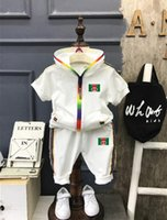Bambini Set 1-4T Kids Cardigan Zipper Coats Pants 2 Pz / set Bambini Sports Sets Long Sleeve SS Logo rotondo Stampa Bambini Summer Suit