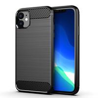 Pour iPhone 11 Pro Max 6 7 8 Plus SE 2020 Samsung A11 A51 A70 A21 A10E en fibre de carbone grattée TPU