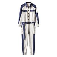 Moda Erkek Tek Parça Tulum Uzun Kollu Kargo Pantolon Vintage Sashes Casual Hip Hop tulumları Renkler Karışık Uzun Koşucular Pantolon