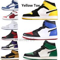 2019 Nouvelle Arrivée Toe Jaune 1s Chaussures de basket-ball styliste Banned Piste Rouge Noir Ciment éléphant Imprimer Dieu Toe Men Sneakers EUR40-46