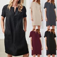 عارضة المرأة اللباس زر جيب القطن الكتان قصيرة الأكمام بلون فضفاضة منتصف اللباس الصيف فستان مريح زائد الحجم