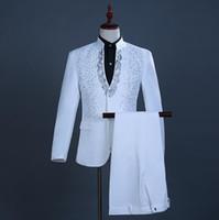 (Jacket + Pants) 2018 new men's fashion Boutique wedding dress suit Formal business Casual suits Singer stage performance party