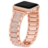 Cintas de relógio de luxo para a banda de relógio da Apple 40 / 44mm 38 / 42mm Mulheres Diamond Bands Fit Iwatch Series 6 SE 5 4 3 2 1 Pulseira Aço Inoxidável Aperte