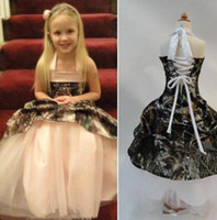 New Camo Flower Girl Dresses for Wedding Halter Neck Lace Up Back Ruffles Satin Kids first holy communion dresses Custom made