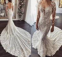 Robe de mariée à manches longues à manches longues 2020 luxe 3D floral dentelle pure coiffe col sirène jardin princesse mariée robe de mariée