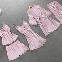 Осенняя атласная пижамас набор для женщин элегантные 5шт.