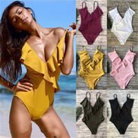 Sarı Katı Tek parça mayo Falbala V boyun fırfır Seksi parça bikini 2020 Ladies Beach Mayo Mayo