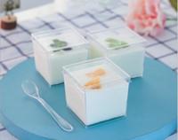 150мл Мусс чашки пудинг мороженое желе десерт торт жесткий пластик PS одноразовые чашки квадратный удобный высокое качество