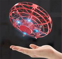 Con caja de gesto uvno inducción volando platillo anti-impacto suspensión mini aeronave inteligente con luces LED Aeroplano Juguete Niños Regalos de Navidad A112004