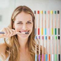 Cepillo de dientes de bambú redondo adultos colorido mango de bambú Natural cepillos de dientes de cerdas suaves cepillos de dientes desechables T2I5775