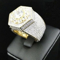 Hip Hop Men' s Iced Out Cubic Zircon Bling Ring Gold Col...