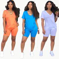 Frauen Anzug Einfaches Sport Vneck Kurzärmlig Regular-T-Shirts mit geradem Engen Shorts Fest Farbe gestricktes 2piece Set drei Farb