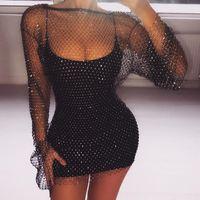 Fantoye Crystal Diamond 섹시한 바디 콘 여성 중공 아웃 미니 여름 Fishnet 메쉬 해변 드레스 파티 Vestidos Q190516