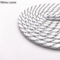 Weiou 4,5 mm rotondo lacci di corda rotonda bianca grigio croce grana a due tonalità lacci delle scarpe a strisce per escursioni all'aperto sport vecchi papà scarpe