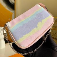 ESCALE Pochette ACCESSOIRES M69269 Женщины Мини-конструктор сцепление Hobos сумка с цепью Нового Tie Dye Giant серия мешочки