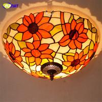 FUMAT Avrupa Pastoral Tiffany Tavan Lambaları LED Yusufçuk Gölge Lambaları Oturma odası Vitray Yatak Odası Için Tavan Işıkları
