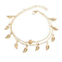 Plata de oro de doble capa borla hoja tobilleras pulseras cadena de pie de playa joyería de moda para mujeres K3408