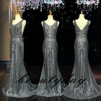 Sparkling gris Sequins dentelle Robes de bal 2019 Nouvelle fête de soirée de soirée Fête de la soirée Robe d'occasion spéciale Double Dubai 2K19 Black Girl Couple Jour
